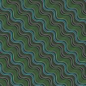 Geometrical Ornament With Diagonal Green, Blue And White Wavy Lines
