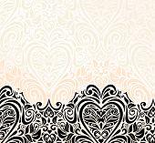 Bright luxury vintage wedding ecru & black invitation background