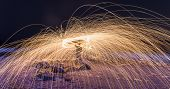 pic of slag  - Showers of hot glowing sparks from spinning steel wool at Coney Island Beach Brooklyn New York - JPG