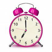 Pink Alarm Clock Isolated
