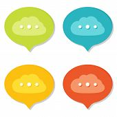 Set of Online Speech Bubbles icons. Flat style with shadows.