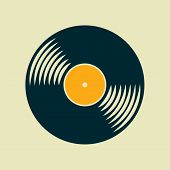 stock photo of lp  - Vector simple flat vinyl record icon - JPG