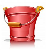 red metallic bucket