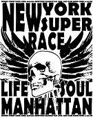 Newyork skull College Design Man T-shirt Vector Design