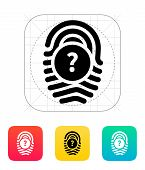 Question mark, FAQ sign. Fingerprint icon.