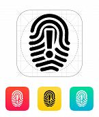 Attention sign on fingerprint icon.