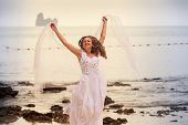 Bride Jump On Sandy Beach