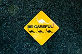 stock photo of dinosaur  - Funny be careful sign of dinosaur with green background - JPG