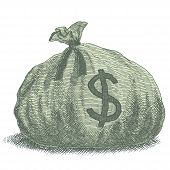 picture of sack dollar  - Old - JPG