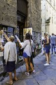 Volterra, Tuscany, tourists people. Color image