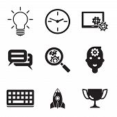 Collection of flat silhouettes business media icons for web and communication