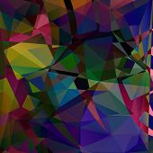 Abstract Geometric Chaotic Colorful Background, Vector. Bright Image In Yellow, Pink, Blue, Lilac, G