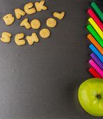 Cookies in the form of letters lined inscription back to school