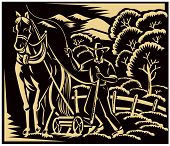foto of horse plowing  - Vector woodcut style illustration of a farmer and horse farming plowing farm field with trees and mountains in the background - JPG
