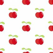Seamless Pattern Red Apple With Green Leaf.