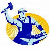 Blacksmith Farrier With Hammer Horseshoe Retro