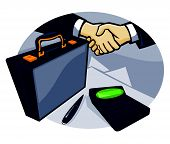Business Handshake Deal Briefcase Retro