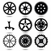 set silhouettes of gears