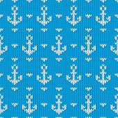 Seamless knitted pattern with anchors. Vector illustration