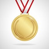 Vector gold medal with ribbon