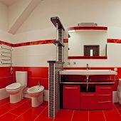 Modern bathroom with red ceramic walls