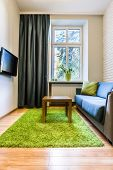 Hotel Room With Green Rug