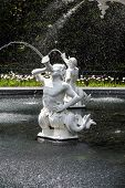 Statues Spouting Water In Forsyth Park Fountain