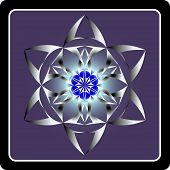 picture of six-petaled  - Abstract round figure made up of six petals on violet blue background - JPG