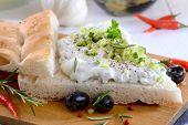 pic of pita  - Fresh Greek tzatziki on pita bread - JPG