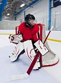 foto of ice hockey goal  - Ice hockey goalie - JPG