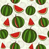 Seamless background with watermelons