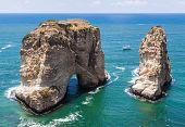 Pigeons' Rock limestone island in Beirut Lebanon