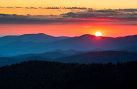 picture of smoky mountain  - Clingmans Dome Great Smoky Mountains National Park Scenic Sunset Landscape photography between Cherokee NC and Gatlinburg TN
