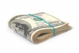 picture of 100 dollars dollar bill american paper money cash stack  - Stack of money - JPG