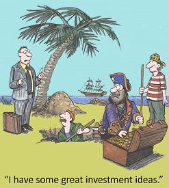image of pirates  - Cartoon of business stock broker talking to pirates with their treasure - JPG