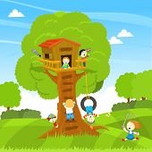 picture of tree house  - Vector illustration of a tree house with cute little kids - JPG