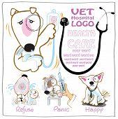 picture of veterinary  - Veterinary or Vet card design symbol are Bull Terrier dog with many feelings - JPG