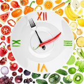 picture of vegetable food fruit  - Food clock with vegetables and fruits - JPG