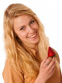 pic of strawberry blonde  - Beautiful blond cheerful caucasian woman eats a big red strawberrie isolated over white - JPG