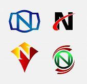foto of letter n  - Letter N logo symbol set collection design - JPG
