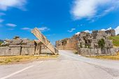 stock photo of messina  - ruins of Arcadian gete in Ancient Messina - JPG