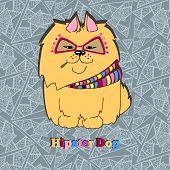 picture of pomeranian  - Vector hand drawn hipster dog - JPG