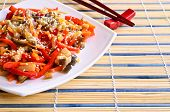 image of sesame seed  - Vegetables in an Asian style with sesame seeds - JPG