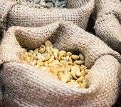 pic of coffee crop  - Coffee bean in the small bag of coffee shop - JPG