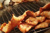 stock photo of roasted pork  - Pork roast on the stove at the market - JPG