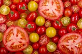 stock photo of plum tomato  - A selection of different types of fresh tomatoes - JPG