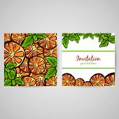 image of mint leaf  - Postcard made from hand drawn slices of orange and leafs of mint - JPG