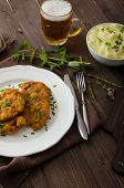 stock photo of mashed potatoes  - Schnitzel with herbs mashed potatoes and chives - JPG