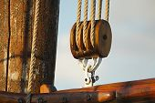 stock photo of rig  - Rigging ropes on an old ship mast - JPG