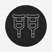 stock photo of crutch  - Crutch Line Icon - JPG